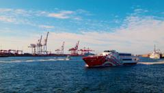 Ferry Passing On The Swan River Mouth At Fremantle Port Stock Footage