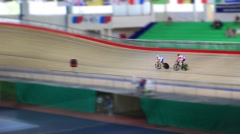 Pursuit on the cycling track Stock Footage