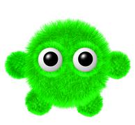 Little green furry monster with arms and legs. Fluffy character with big eyes Stock Illustration