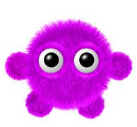 Fluffy character with big eyes. Little magenta furry monster with arms and le Stock Illustration