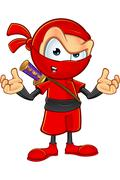 Sneaky Red Ninja Character Stock Illustration