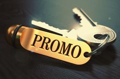 Promo Concept. Keys with Golden Keyring Stock Illustration