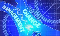Change Management on the Cogwheels. Blueprint Style Stock Illustration