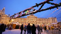 Christmas fair on the Red Square. - stock footage