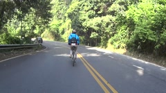 Downhill with a bike on a street at Doi Suthep, Chiang Mai, Thailand. Stock Footage
