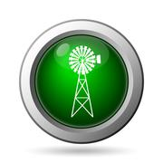 Classic windmill icon. Internet button on white background. - stock illustration