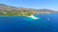 Beautiful aerial view of turquoise sea in Bol on the island of brac,Croatia. Stock Footage