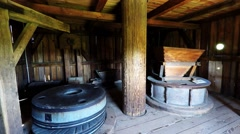 Inside the windmill in Tokarnia open-air museum, Poland Stock Footage