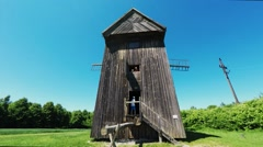 Windmill in Tokarnia open-air museum, Poland Stock Footage