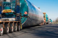 heavy transport Wind turbine transportation - stock photo