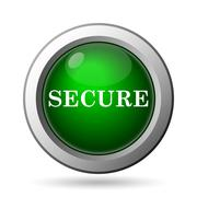 Secure icon. Internet button on white background. - stock illustration
