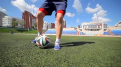 Soccer Player Running with the Ball and Makes Feints Stock Footage