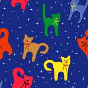 Funny cats over starry sky Stock Illustration