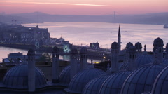 Morning before sunrise in Istanbul, a view of Bosphorus from Suleymaniye Mosque Stock Footage
