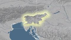 Slovenia outlined and glowed. Neighbourhood. Elevation - stock footage