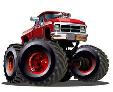 Cartoon Monster Truck - stock illustration