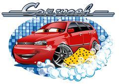 Car Washing sign with sponge - stock illustration