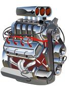 Cartoon turbo engine - stock illustration