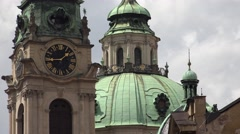 ULTRA HD 4K Beautiful church tower cathedral roof Prague public clock iconic day Stock Footage
