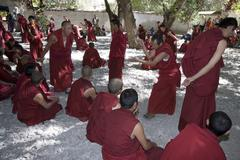 Debating Monks - Sera Monastery - Tibet - stock photo