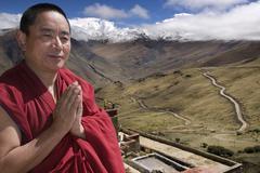 Tibetan Monk - Ganden Monastary - Tibet Stock Photos