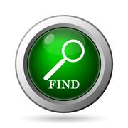 Find icon. Internet button on white background. Stock Illustration