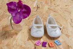 Baby card, concept of new born baby with shoes Kuvituskuvat