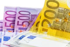 Euro banknote from 200 and 500 Stock Photos