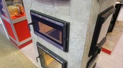 Fireplace glass doors Stock Footage