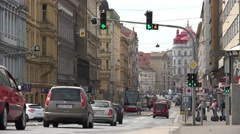 ULTRA HD 4K Heavy traffic street Prague downtown old town busy avenue people day - stock footage