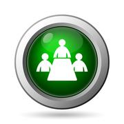 Meeting room icon. Internet button on white background. Stock Illustration