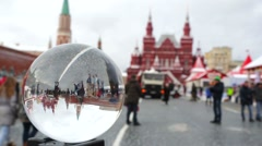 Inverted view of the Red Square through a glass ball. Stock Footage