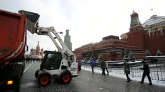 Municipal units remove snow from the Red square. Stock Footage