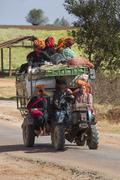Farm Worker Transport - Myanmar - stock photo