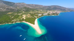 Beautiful aerial view of turquoise sea in Bol on the island of brac,Croatia. Stock Footage