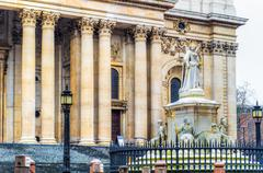 Monument of Queen Anne in front of St. Paul's Cathedral, London  - stock photo
