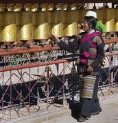 Tibet - Prayer Wheels - Gyantse Kumbum Stock Photos