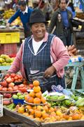 Food market in Saquisili in Avenue of the Volcanos in Ecuador Stock Photos