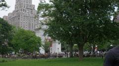 Tracking shot people of different races Washington Square Park diversity 4K NYC Stock Footage