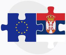 European Union and Serbia Flags in puzzle - stock illustration
