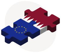 European Union and Qatar Flags - stock illustration