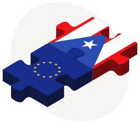 European Union and Puerto Rico Flags - stock illustration