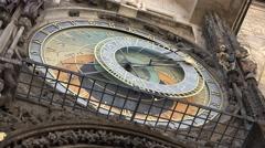 ULTRA HD 4K Close up Astronomical Clock Zodiacal ring Prague landmark symbol day Stock Footage
