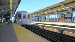 Elevated Subway Train Arrives Stock Footage