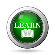 Learn icon. Internet button on white background. - stock illustration