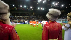 Opening ceremony of the Legends Cup football tournament. Stock Footage