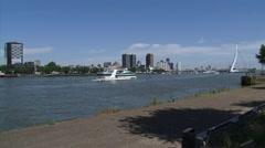 Stock Video Footage of Sightseeing boat Abel Tasman cruising Nieuwe Maas in front of skyline Rotterdam