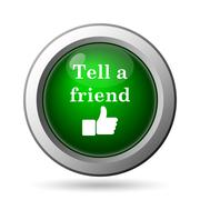 Tell a friend icon. Internet button on white background. - stock illustration