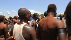 GROUP OF MEN AT POLITICAL RALLY IN SOUTH SUDAN, AFRICA Stock Footage