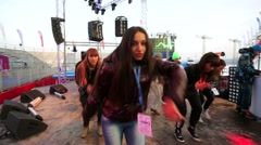 Dance team performs on a stage Stock Footage